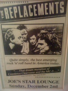 Flyer for Replacements Show at Joe's Star Lounge 12/2/1984